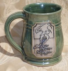Green Dragon mug, NEW VERSION, Lord of the Rings, Hobbit, handmade ceramic