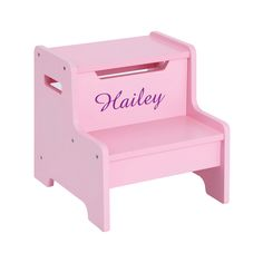 She will love this personalized Expressions Step Stool shown in pink,  Available in several colors.