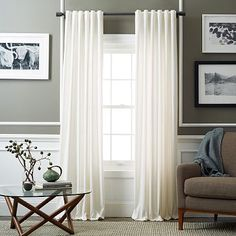 Picture This With Wood Blinds Behind Velvet Pole Pocket Curtain Ivory Westelm