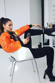 Bella Hadid wearing Moschino Down Jacket