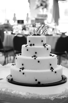 Amy Beck Cake Design - Chicago, IL - 4 Tier fondant wedding cake with black blossoms and delicate piping - #amybeckcakedesign