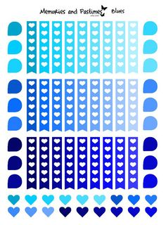 Mixed Page Flags Teardrops and Heart Stickers - Blues