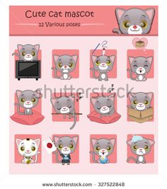 Cute gray cat mascot illustration with 12 various poses