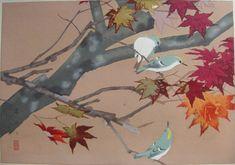 """Red Autumn Maple Leaves and Kikuitadaki."" [Rakusan writing in English]  Red Autumn Maple Leaves and Goldcrests (Winter)"
