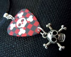Skull on Red and Black Checkered Guitar Pick on Black Velvet Cord Necklace by ItsYourPick on Etsy