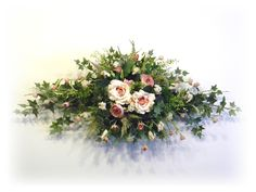 Silk Floral Wall Swag Peachy Pink, Rose and White By www.sugarcreekhd.com