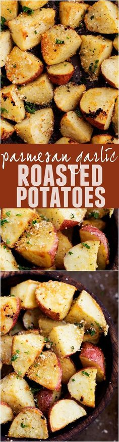 These Parmesan Garlic Potatoes are full of amazing flavor and roasted to perfection! A delicious side!: