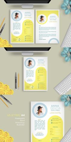 Explore over unique and ready to use resume templates to create eye-catching and professional documents for any industry. Cv Inspiration, Graphic Design Inspiration, Graphic Design Resume, Brochure Design, Resume Design Template, Resume Templates, Conception Cv, Portfolio Design Layouts, Mise En Page Portfolio