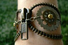 YOLO Steampunk Bracelet Zipper Bracelet by PeteAndVeronicas, $20.00