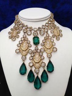 Schreiner of NY Emerald & Ice Rhinestone Bib Necklace
