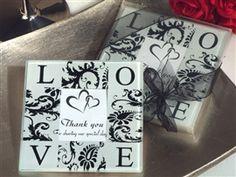 love. damask. coaster.