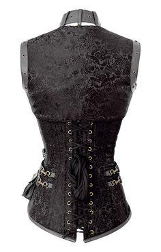 Steel Boned, Waist training, Steampunk, Neo-Victorian, Black, Sexy, Corset, OverBust.    The Violet Vixen - Astute Steampunk Mastermind Illuminated Midnight Black Corset, $153.60 (http://thevioletvixen.com/corsets/astute-steampunk-mastermind-illuminated-midnight-black-corset/)