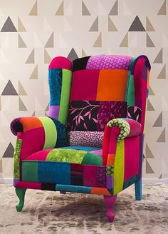 Home Decor Furniture, Unique Furniture, Furniture Makeover, Canapé Design, Interior Design, Meubles Peints Style Funky, Patchwork Chair, Funky Chairs, Funky Painted Furniture