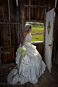 This bride wanted some bride in barn images on her wedding day and this is one of my favs! Portrait Photography, Wedding Photography, One Shoulder Wedding Dress, Wedding Day, Barn, Bride, Wedding Dresses, Creative, Image