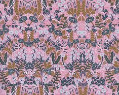 Rifle Paper Co. Tapestry Violet Modern Fabric Menagerie Collection Cotton + Steel Fabric Anna Bond Pink Floral Small Floral Print Fabric