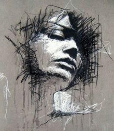 WHO: Guy Denning WHAT: Conte and Chalk WHY: I love the messy and expressive approach and the colour choices. Abstract Portrait, Pencil Portrait, Portrait Art, Portrait Paintings, Charcoal Portraits, Charcoal Art, Charcoal Drawings, Art Sketches, Art Drawings