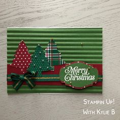 Inspiration: great patterns and background ~ by Kylie Bowers with Stampin Up's Wrapped in Plaid Christmas Card Crafts, Homemade Christmas Cards, Christmas Cards To Make, Plaid Christmas, Xmas Cards, Homemade Cards, Handmade Christmas, Holiday Cards, Scrapbook Cards