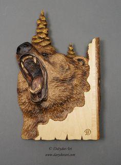 Grizzly  sur BoisSculpture sur BoisArt MuraleArt