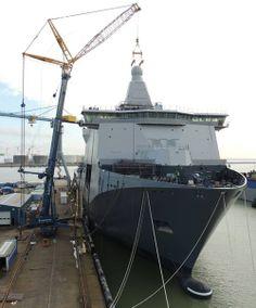 The new Dutch Joint logistic Support Ship (JSS) Karel Doorman at the Damen naval shipyard in Vlissingen