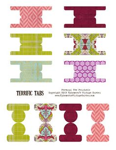 Ephemera's Vintage Garden: Free Weekly Printable - Colourful Page Tabs- click on the image- view- save as!