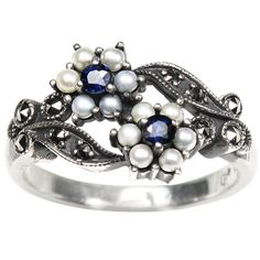 Gemini Silver Natural Seed Pearl Ring, Sapphire - Dahlia Vintage Collection > Price:$204.95 > Click on the image for details and offers.