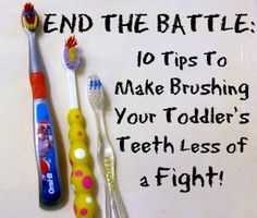"Great ideas to make brushing a toddler's teeth easier! Perfect for kids who constantly wiggle and move when it's time to get their teeth brushed. My favorite suggestion is the ""Is there a monkey in there?"" one. Actually worked!"