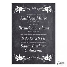 Chalkboard Terrace Wedding Invitation   Smitten on Paper