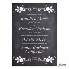 Chalkboard Terrace Wedding Invitation | Smitten on Paper