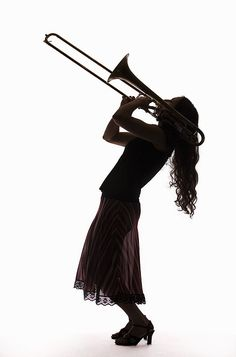 Silhouette Of Female Trombone Player Photograph Basketball Senior Pictures, Country Senior Pictures, Senior Pictures Boys, Senior Pics, Music Collage, Music Artwork, Music Drawings, Partituras Trombone, Saxophone