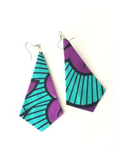 Fabric earrings dangly earrings long earrings big by ThriftyUpenyu