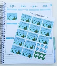 Ski Trip Countdown Stickers for your Erin Condren Life planner, Filofax, Plum Paper, calendar, scrapbook or Kikkik