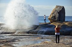 Blowhole in - East Coast of Photo by Dan Fellow for Think Tasmania. Seaside Village, Next Holiday, Tasmania, Continents, East Coast, Dan, Scenery, Places To Visit, Landscapes