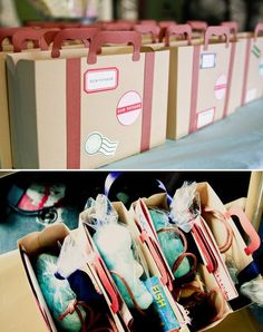 """Cardboard suitcases stuffed with blue cotton candy """"sky"""" and marshmallow """"clouds"""" are sure to satisfy any traveler!"""
