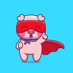 Retro Cartoons, Cartoon Icons, Cartoon Styles, Funny Pigs, Cute Pigs, Animal Drawings, Cute Drawings, Pizza Cartoon, Pig Wallpaper