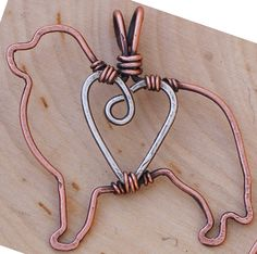 Copper Pyrenees Pendant with Sterling Silver Heart & Chain | BIG Gentle Dogs