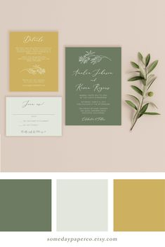 Sage and Mustard Wedding Invitation Set, Fall Wedding Invitation Template, Printable Green Wedding