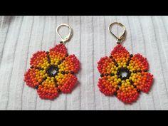 Bead Earrings, Flower Earrings, Crochet Earrings, Beaded Jewelry Patterns, Beading Patterns, Earring Tutorial, Beading Tutorials, Beaded Flowers, Bead Weaving