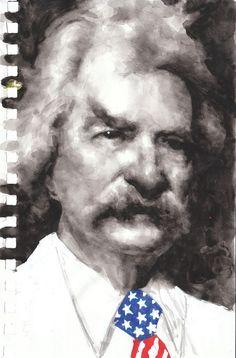 Mark Twain // watercolor by Akira Beard Watercolor Portraits, Watercolor Paintings, Celebrity Portraits, Art For Art Sake, Mark Twain, Cartoon Images, Famous Faces, Illustration Art, Illustrations
