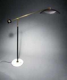 Angelo Lelli; Brass, Enameled Metal, Plastic and Marble Floor Lamp for Arredoluce, c1964.