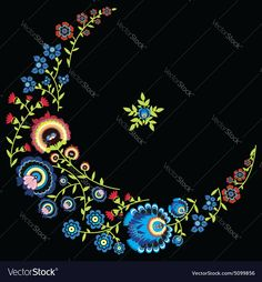 Polish folk floral pattern in moon shape on black background . Download a Free Preview or High Quality Adobe Illustrator Ai, EPS, PDF and High Resolution JPEG versions.
