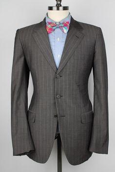 PRADA Grey Brown Striped Wool Silk Blend 40 L mens Sport Coat Blazer #Prada #ThreeButton