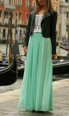 Mint maxi skirt with leather jacket