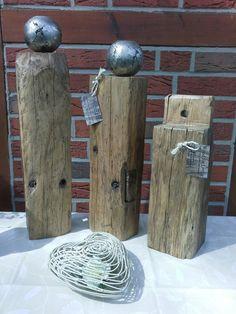 Ganz besondere Holzdeko gibt es bei woodforliving.de Massive Eichenskulpturen, Stelen oder Säulen aus altem Holzgebinde