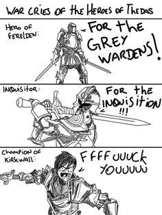 The war cries of Dragon Age. Hawke Dragon Age, Dragon Age 2, Dragon Age Origins, Dragon Age Inquisition, Dragon Age Comics, Dragon Age Memes, Dragon Age Funny, Videos Fun, Grey Warden