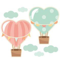 Heart Hot Air Balloons scrapbook cut file cute clipart files for silhouette cricut pazzles free svgs free svg cuts cute cut files