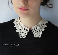 Flower Lace Crochet Collar Light-Cream color with Pearl Button