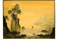 Chinese landscape painting by R.E. Russell. Portrayed with great detail and colors. Displayed in a wood frame.
