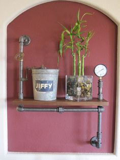 Vintage Plumbling Pipes | Industrial Plumbing Pipe Shelf - Stout Single with Pressure Gauge
