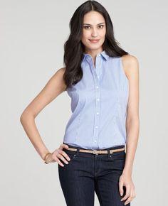 Stretch Cotton Sleeveless Button Down Shirt