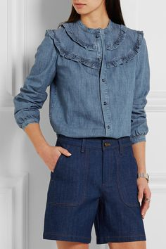 A.P.C. Atelier de Production et de Création | Stevy ruffle-trimmed cotton-chambray shirt | NET-A-PORTER.COM